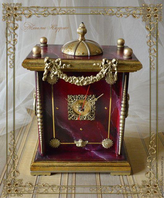 """Часы для дома ручной работы. Ярмарка Мастеров - ручная работа. Купить Часы каминные """"Rosso Levante"""". Handmade. Бордовый"""