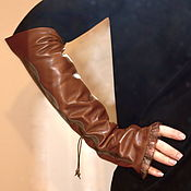 Аксессуары handmade. Livemaster - original item Long Leather Fingerless Gloves Evening Brown Women gloves. Handmade.