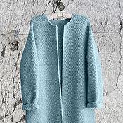 Одежда ручной работы. Ярмарка Мастеров - ручная работа Пальто Оверсайз Вязаное Норка (Голубой цвет). Handmade.