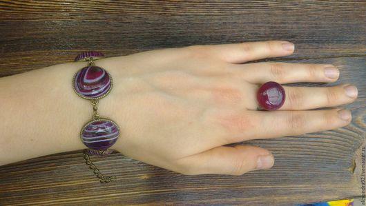 """Браслеты ручной работы. Ярмарка Мастеров - ручная работа. Купить 2 ВИДА браслеты из агата  """"Малиновый рассвет"""" +кольцо с агатом. Handmade."""