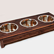 """Для домашних животных, ручной работы. Ярмарка Мастеров - ручная работа Деревянная подставка с 3 мисками. """"Венге"""". Handmade."""