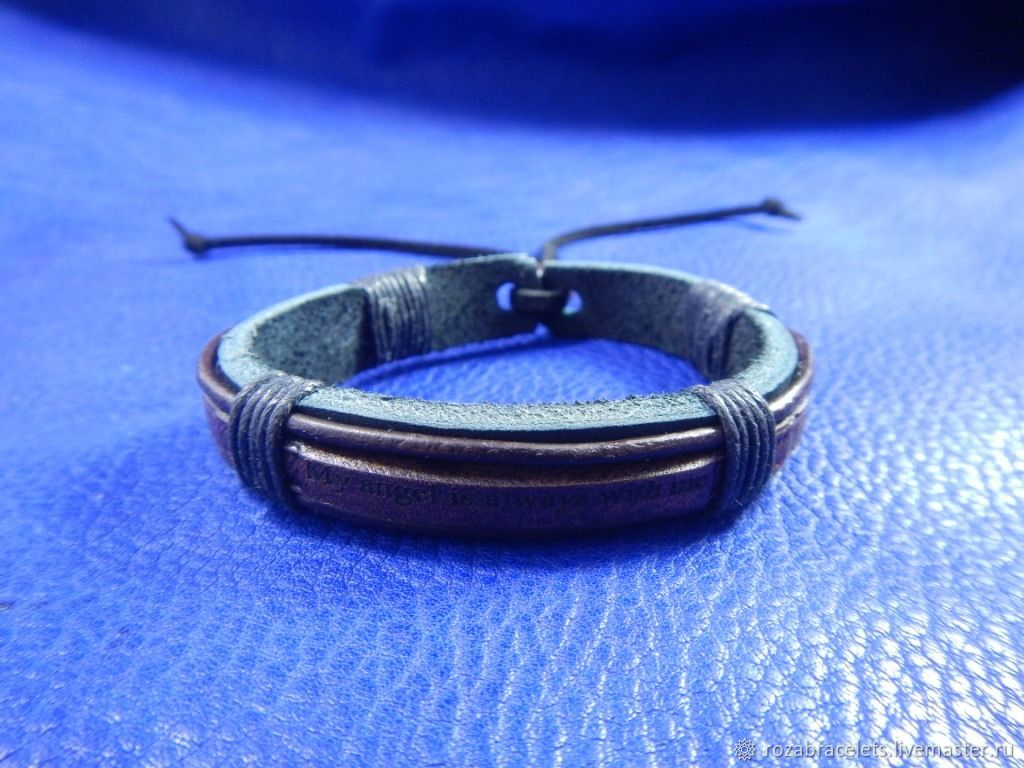 A leather bracelet engraved with My angel is always with me, Bracelets, Ulyanovsk, Фото №1