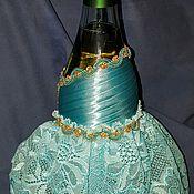 Чехлы для посуды ручной работы. Ярмарка Мастеров - ручная работа Украшение бутылки атласными лентами,платья. Handmade.