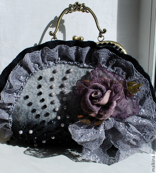 Женские сумки ручной работы. Ярмарка Мастеров - ручная работа. Купить Валяная сумка Графиня. Handmade. Серый, серая сумка