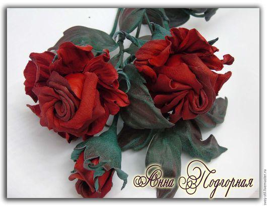 Букеты ручной работы. Ярмарка Мастеров - ручная работа. Купить Цветы из  кожи. Роза Аделина. Handmade. Ярко-красный
