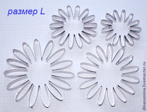 №3462 L набор 4 каттера лепестки по кругу закругленные (15,14,14,13 лепестков) - 730р