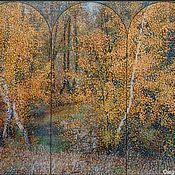 """Картины и панно ручной работы. Ярмарка Мастеров - ручная работа картина """"Осенние берёзы. Ширма-2"""". Handmade."""