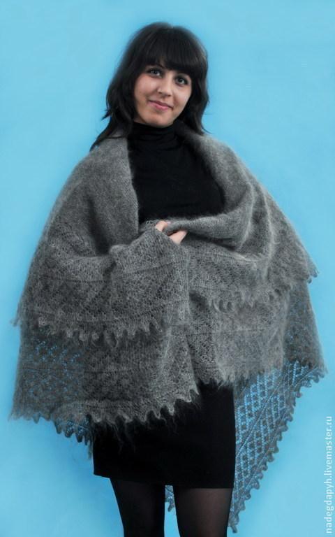 Шали, палантины ручной работы. Ярмарка Мастеров - ручная работа. Купить 48 платок пуховый оренбургский шаль , Подарок от оренбургской козочки. Handmade.