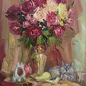 Картины и панно handmade. Livemaster - original item Oil painting still life with cat. Handmade.