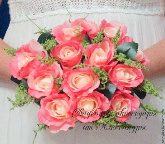 Свадебные цветы ручной работы. Ярмарка Мастеров - ручная работа. Купить Дубль букет из роз. Handmade. Букет невесты