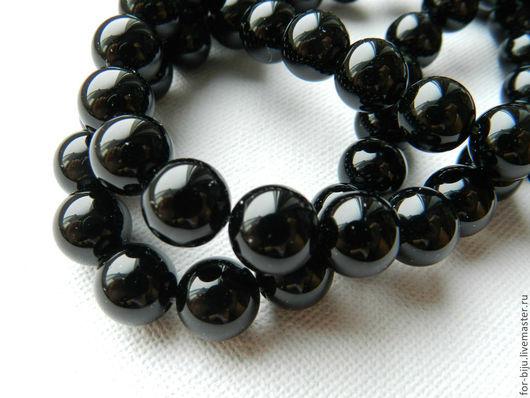 Черный агат бусины гладкий шар - красивые бусины отличной полировки, отверстие 1 мм (арт. 521)