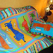 Для дома и интерьера ручной работы. Ярмарка Мастеров - ручная работа детское покрывало пэчворк ТАКСЫ 4 детский лоскутный плед. Handmade.
