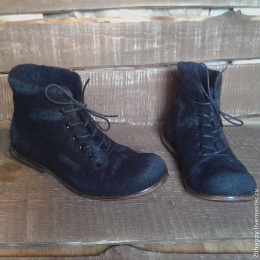 Обувь ручной работы. Ярмарка Мастеров - ручная работа. Купить Валяные ботинки Urban Black. Handmade. Черный, кожа натуральная