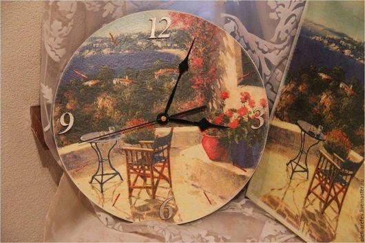 """Часы для дома ручной работы. Ярмарка Мастеров - ручная работа. Купить Часы """"Итальянское побережье"""". Handmade. Комбинированный, лак"""