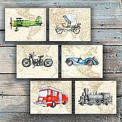 Для дома и интерьера handmade. Livemaster - original item Train Motorcycle Airplane Car on the world map Pictures for boy 6 PCs. Handmade.