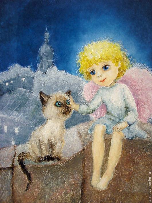 Подарки на Пасху ручной работы. Ярмарка Мастеров - ручная работа. Купить Ангел и Сиамский котенок  Принт авторский 15х20 см. Handmade.