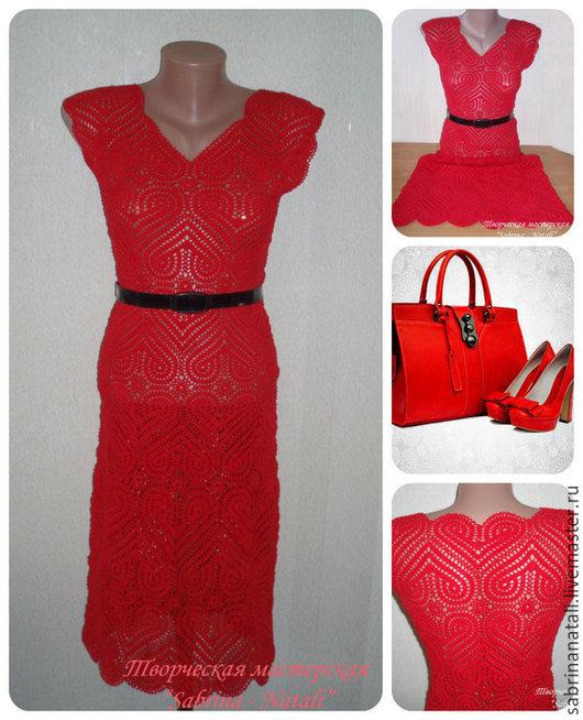 Платья ручной работы. Ярмарка Мастеров - ручная работа. Купить Красное платье вязаное крючком. Handmade. Платье нарядное
