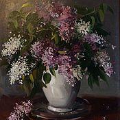 Картины и панно ручной работы. Ярмарка Мастеров - ручная работа Сирень в белой вазе. Handmade.