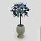 Дерево из лазурита `Лазурное счастье` в вазочке из оникса