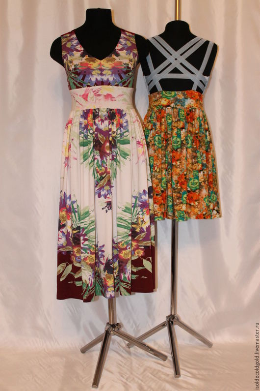 Платья ручной работы. Ярмарка Мастеров - ручная работа. Купить Сарафан летние цветы. Handmade. Комбинированный, летний сарафан из вискозы