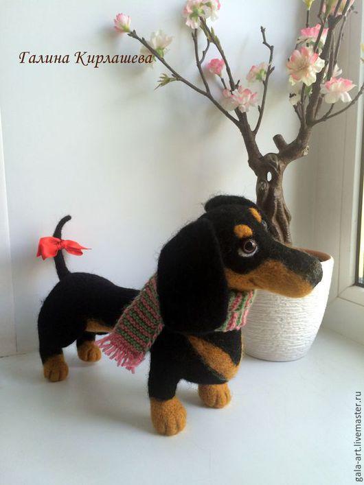 Игрушки животные, ручной работы. Ярмарка Мастеров - ручная работа. Купить валяная собачка такса Чара. Handmade. Черный