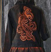 """Одежда ручной работы. Ярмарка Мастеров - ручная работа Куртка """"Сговор птиц"""" из черного льна. Handmade."""