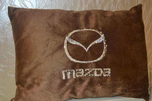 Автомобильные ручной работы. Ярмарка Мастеров - ручная работа. Купить Автомобильная подушка Mazda (Мазда), Volkswage с кристаллами Swarovski. Handmade.