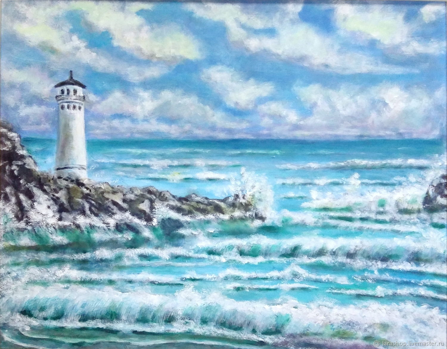 Painting Sea Seascape. Lighthouse before the storm, Pictures, Moscow,  Фото №1