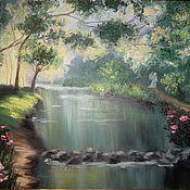Картины и панно handmade. Livemaster - original item Oil painting colourful landscape of