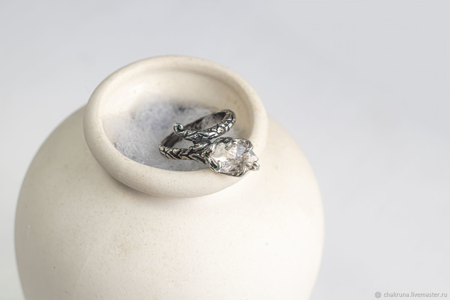 Silver ring with Herkimer crystal ' Gerda», Rings, Moscow,  Фото №1