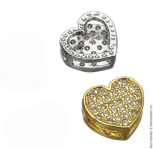 Бусина-коннектор Сердце mini, серебро и золото (Milano) Евгения (Lizzi-stones-2)