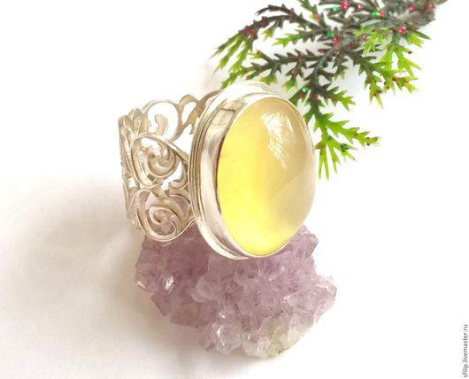 """Кольца ручной работы. Ярмарка Мастеров - ручная работа. Купить Кольцо """"Chartreuse """" - Пренит,серебро 925. Handmade. Лимонный"""