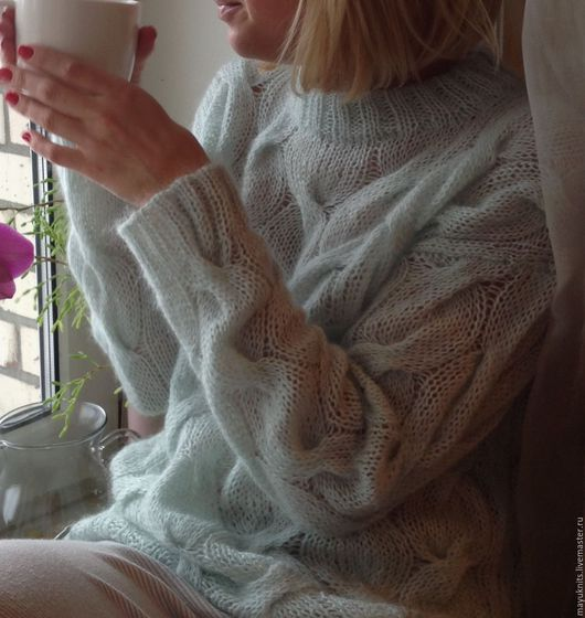 Кофты и свитера ручной работы. Ярмарка Мастеров - ручная работа. Купить Пушистый свитер с косами ментолового цвета. Handmade. Мятный