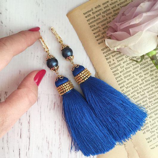 Серьги ручной работы. Ярмарка Мастеров - ручная работа. Купить Серьги кисти длинные ярко синие с камнями. Handmade.