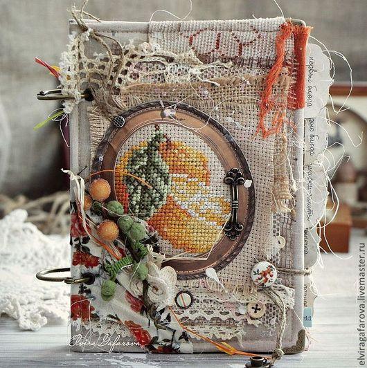 Блокноты ручной работы. Ярмарка Мастеров - ручная работа. Купить Кулинарная книга ручной работы в стиле кантри. Handmade. Оранжевый