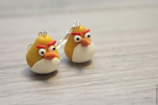 """Серьги ручной работы. Ярмарка Мастеров - ручная работа. Купить Серьги по мотивам героев игры """"Angry birds"""". Handmade."""