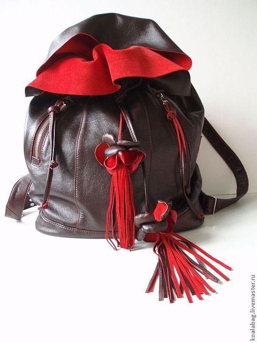 Рюкзаки ручной работы. Ярмарка Мастеров - ручная работа. Купить Женский рюкзак из кожи Бордо. Handmade. Рюкзак, стиль этно