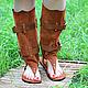 Обувь ручной работы. Ярмарка Мастеров - ручная работа. Купить Сандалии Ботфорты из рыжей замши Летние. Handmade. Ботфорты