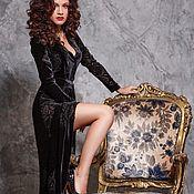 Одежда ручной работы. Ярмарка Мастеров - ручная работа Вечернее платье на запах из бархата деворе. Handmade.
