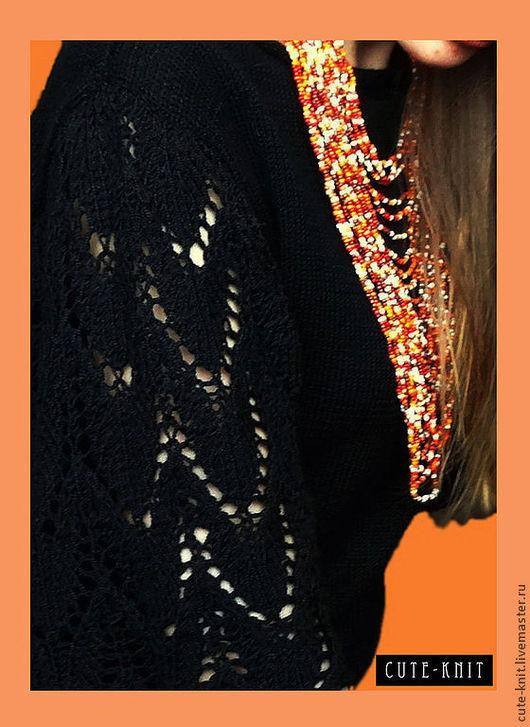 Чтобы лучше рассмотреть модель, нажмите на фото CUTE-KNIT Ната Онипченко Ярмарка мастеров Купить черную кофту вязаную