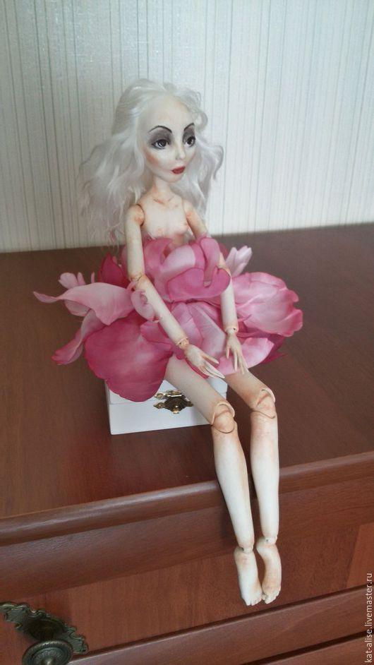 Коллекционные куклы ручной работы. Ярмарка Мастеров - ручная работа. Купить Будуарная кукла Пион. Handmade. Бордовый, БЖД кукла
