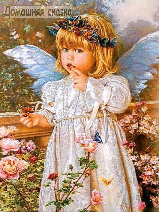 """Вышивка ручной работы. Ярмарка Мастеров - ручная работа. Купить Набор для вышивки лентами  по принту """"Ангел с бабочками"""" (Д-12). Handmade."""