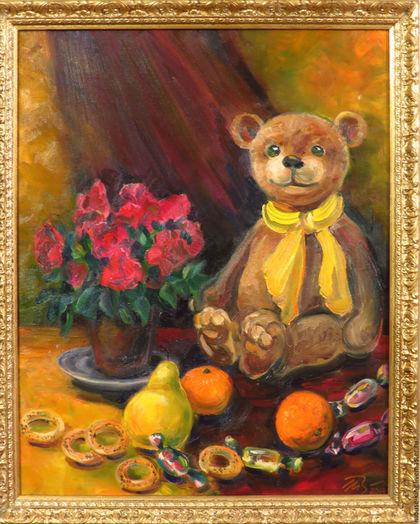 Натюрморт ручной работы. Ярмарка Мастеров - ручная работа. Купить Картина Ожидание праздника, мишка Тедди на картине маслом. Handmade.