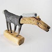 Фигурка из дерева и керамики Конь со светлой гривой