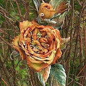 Украшения handmade. Livemaster - original item Grosgrain rose brooch silk