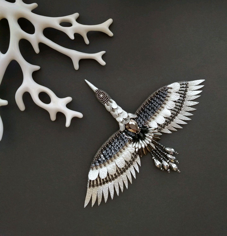 Brooch 'Crane' silver, silver, grey, Brooches, Poltava,  Фото №1