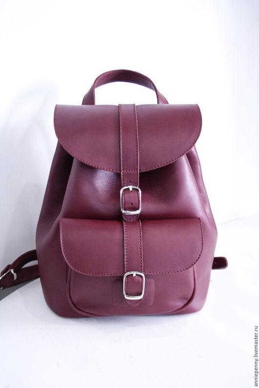 Рюкзаки ручной работы. Ярмарка Мастеров - ручная работа. Купить Кожаный рюкзак. Handmade. Бордовый, рюкзачок