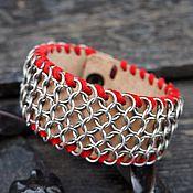 Украшения ручной работы. Ярмарка Мастеров - ручная работа Кожаный браслет с кольчужной накладкой (3). Handmade.