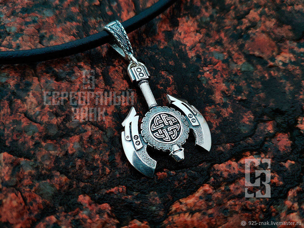 Axe with Viking protection Node. Silver 925 art.1011001, Pendants, St. Petersburg,  Фото №1