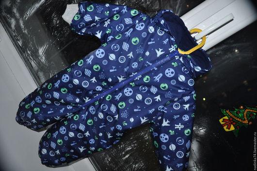 """Одежда для мальчиков, ручной работы. Ярмарка Мастеров - ручная работа. Купить Весенний комбинезон """"Космос"""". Handmade. Тёмно-синий, флис"""